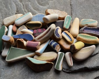Genuine Beach Sea Pottery - Colorful Sticks, Handle Pieces, Unusual Weird Fun Finds