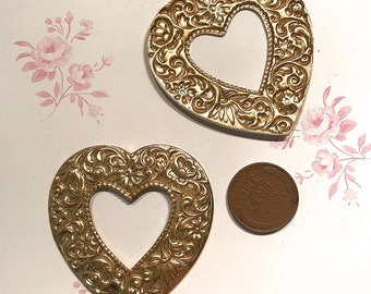 Heart Stamping, Large Metal Heart, Open Heart, Valentine Heart x 2