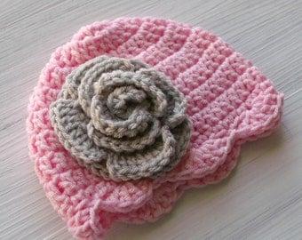 Crochet Baby Flower Hat, Pink and Gray Crochet Baby Girl Hat, Baby Girl Beanie, Baby Girl Photo Prop / Shower Gift, Crochet Rose Hat
