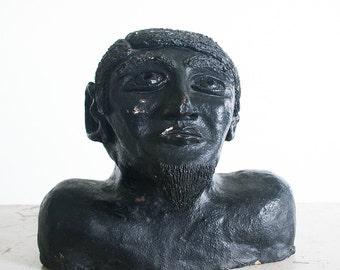 1960's Sculpture of a Man / Vintage Ceramic Bust / Mid Century Studio Pottery / Outsider Art