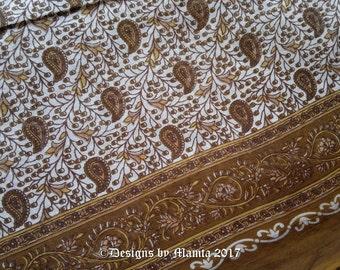 Brown Saree Fabric By The Yard, Paisley Print Cotton Fabric, Floral Cotton Fabric, Indian Saree Fabric, Semi Sheer Lightweight Cotton Fabric