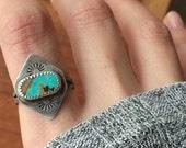 Kingman Turquoise Sterling Silver Stamped Geometric Ring - Size 7 - Boho Bohemian Jewelry Ponderbird