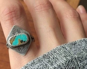 Kingman Turquoise Sterling Silver Stamped Geometric Ring - Size 7 - Boho Bohemian Jewelry Ponderbird