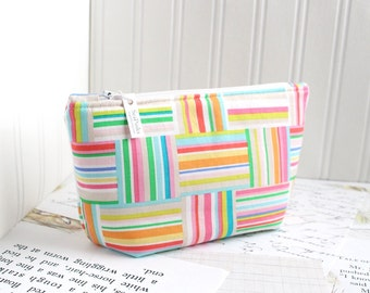 Colorful Striped Cosmetic Bag Makeup Bag Pink Striped Zipper Pouch Organizer Colorful Modern Print