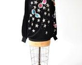80s Black Velour Stars & Sunglasses Turtleneck Sweatshirt // Beads, Sequin Glam Embellishments // Whimsical Wearable Art by Bonnie Boerer