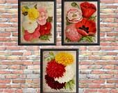 Vintage Flower Art Prints Dahlias Poppies Begonias Digital Primitive Style Printable Home Wall Decor Instant Download