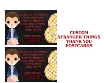 Stranger Things Thank you card, Custom Card, Eleven, Eggos, Netflix Original, Stranger Things Party