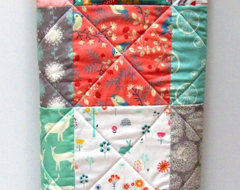 Modern Rustic Baby Girl Quilt-Coral-Mint-Navy Patchwork Homemade Crib Bedding-Arrow Baby Blanket-Deer-Elk-Antler-Buck-Song Birds