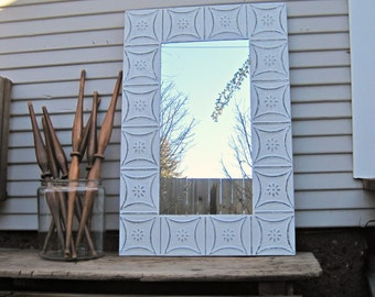 Tin ceiling Mirror, Off White Bathroom Bedroom Mirror, Architectural salvage, Distressed Rustic Shabby French country decor