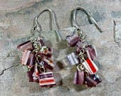 Vintage Millefiori Beads Beaded Earrings Millefiori Glass Beads Dangle Earrings Multi Colors Lavender Red Blue Yellow Primary Colors