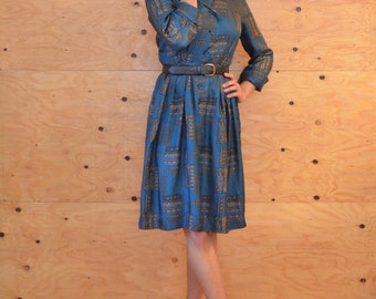 Vintage 80's Teal Silk Geometric Secretary Dress  SZ M