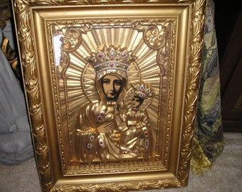 Vintage Religious Our Lady of Czestochowa/Black Virgin Shadow Boxed.Ornate Wooden Framed Polish Church Icon.