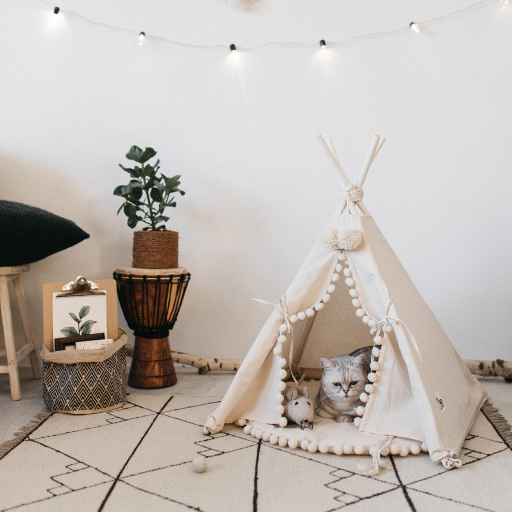 cat bed with a matching pompom pad dog bed pet teepee pet. Black Bedroom Furniture Sets. Home Design Ideas