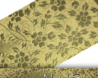 "Textured Brass Rose Flower and Leaf Pattern 24 gauge Sheet Metal 2.5"" x 12"" - Solid Brass - Great for Rolling Mills 84"