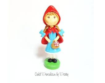 Little Red Riding Hood Cake Topper, Cold Porcelain Clay Little Red Riding Hood Figurine, Handmade Birthday Clay Cake Topper, Keepsake, Gift