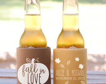 Personalized Fall in Love Fall Rustic Wedding Favors,Wedding Can Coolers, Custom Beverage Insulators, Beer Huggers, Fall Wedding Favor