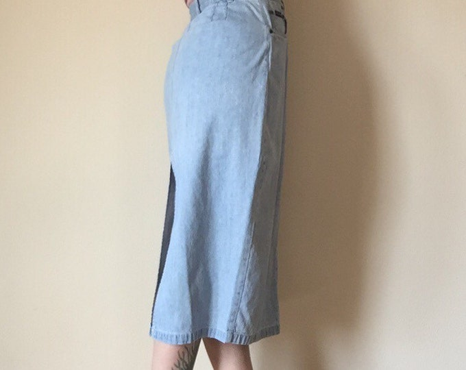 "28"" 90s midi length light wash denim high waist denim maxi long SKIRT 10 medium large M L womens bottom norm core cottage chic vintage nice"