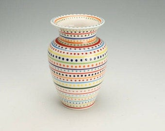 Ceramic Vase, Stripes and Dots Pottery Vase, Striped Flower Vase, Ceramic Stripes and Polka Dots Flower Vase