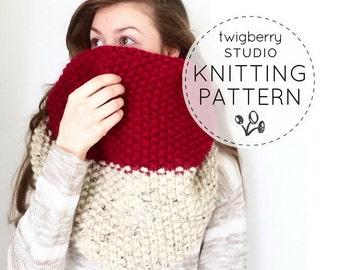 KNITTING PATTERN Scarf Chunky Knit Cowl Pattern Knitting Cowl Pattern Knitting Pattern Cowl Knitted Cowl Neckwarmer Pattern Infinity Pattern