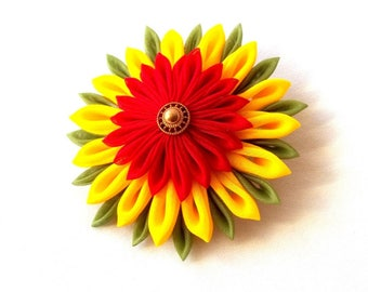 Brightly Colored Tsumami Kanzashi Flower Statement Hair Clip Red Yellow Green Wearable Fiber Art Fabric Origami