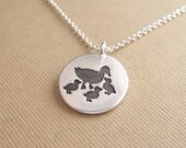 Mother and Three Baby Ducks Necklace, Ducklings, New Mom Necklace, Three Children Charm, Fine Silver, Sterling Silver Chain, Made To Order