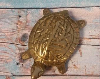 Brass Turtle Figure Paperweight