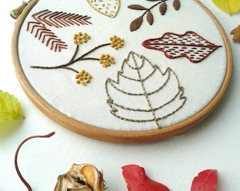 Autumn Leaves Beginner Embroidery Sampler. Craft Kit. DIY Hoop Art.Embroidery Tutorial. Modern Needlework. Gift . Botanical Art.Decor