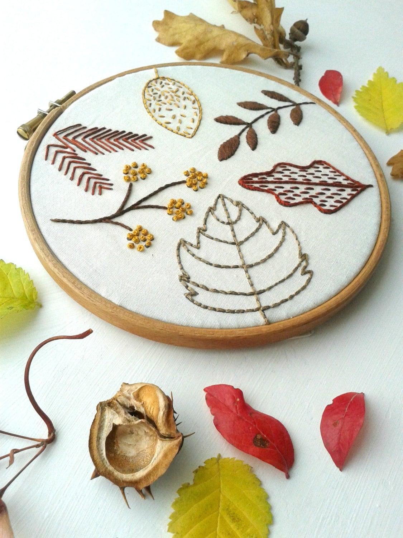 Autumn leaves beginner embroidery sampler craft kit diy