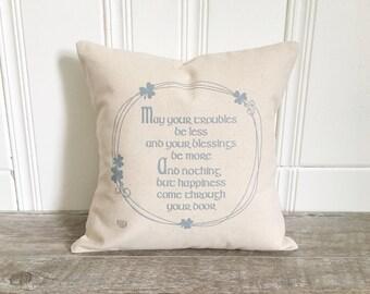 Irish Blessing Cover Cotton Pillow Case St Patricks Day Pillow Farmhouse Decor Throw Pillow Farmhouse Decor St Patricks Day Decor
