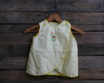 Vintage White & Yellow Calico Pinafore With Teddy Bear