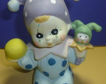 Vintage Baby Jester Clown Ceramic Figurine, 1980s