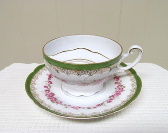 Antique German Bone China Mustache Tea Cup and Saucer Set