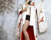 SOLD! Ceremonial SILK Kimono Uchikake Vintage 60's Japanese Wedding Robe Embroidered Floral & Crane CREAM