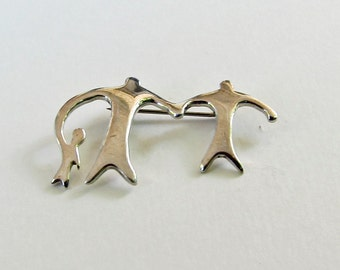 Abstract Modernist Family Sterling Silver Pin Brooch