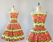 Vintage 50s Dress/ 1950s Cotton Dress/ Red and Orange Rose Print Cotton Dress L