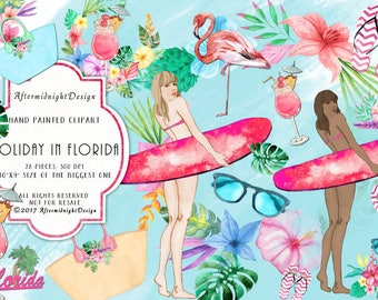 HOLIDAY in FLORIDA Clipart  SURF Summer Vacation Watercolor Handpainted Flamingo Umbrella Drink Palm Sunglasses Flipflops