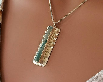 Sea Glass Rod Necklace Turquoise, White, Clear Ribbon Cane Fine and Argentium Silver (935) MED.