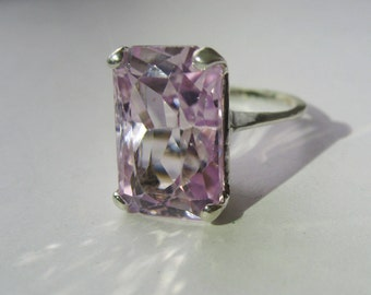 Natural Lavender Pink Kunzite In Sterling Silver Ring, 14.10ct. Size 8.25