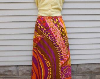 Vintage 70's Quilted Maxi Skirt, Phil Rose of California, Festival Skirt