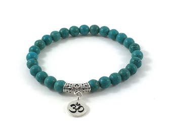 Totally Trendy Turquoise Chakra Mala Bracelet Buddhist Spiritual Inspirational Jewelry Mantra Om Silver Charm Custom Boho Gift For Mother
