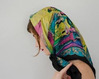 1950s vintage scarf / novelty print silk scarf / ballerinas
