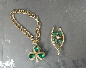 "1960s Two Piece Set 7"" Green Rhinestone Shamrock Charm Bracelet Wishbone Enamel Pin Brooch St. Patricks Day Emerald Irish Parade Fun Link"