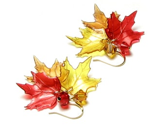 Falling Autumn Leaves Swarovski Crystal Fall Leaf Gold Earrings Acrylic Maple Leaf Jewelry in Golden Amber Topaz Brown Red Gifts for Women