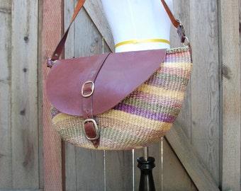 Vintage Purse Tote Handbag Hobo Boho Hippie Native Sisal Fibers Leather Colorful African Festival kid Gypsy Handbag Shouder Bag Kenyan Bag