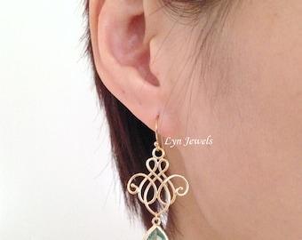 Prasiolite Earrings, Light Green Earrings, Green Erinite Earrings, Green Amethyst Teardrop Gold Chandelier Earrings, Christmas Gift