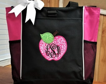 Tote Teacher Tote Bag Monogrammed Teacher Bag Apple Applique