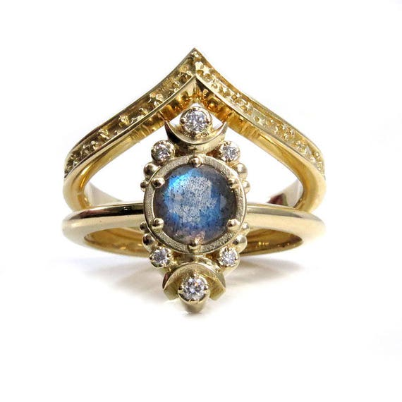 Gold Moon and Stardust Chevron Engagement Ring Set - Labradorite and Diamond Modern Celestial Wedding Jewelry