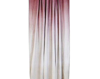 Natural window curtains, Ombre cotton curtains, Cranberry red fade to sand ombre drapes, custom length and lining window curtain panels