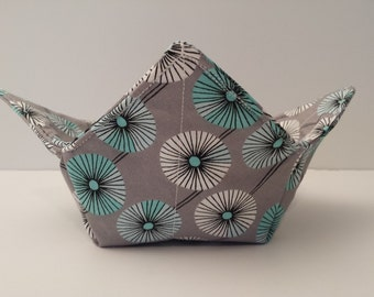 Circle Fans, Microwave Bowl Cozy, Bowl Holder, Bowl Warmer, Hot or Cold, All Cotton, Micro Safe, Grey, Pale Turquoise, White