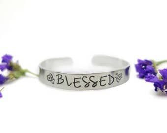 Hand Stamped Bracelet - floral flower - hand stamped jewelry, inspirational bracelet, blessed, Aluminum Cuff, mom, mother day gift